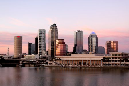 Tampa Skyline - Panoramatic view on modern skyscrapes in business downtown